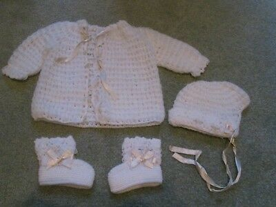 VINTAGE 1960's BABY CHRISTENING CROCHET SWEATER HAT BOOTIES  HAND MADE IN JAPAN