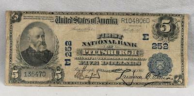 1902 $5  National Banknote First National Bank Of Pittsburgh PA Charter 252!