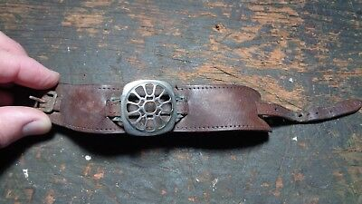 WWII vintage AAF veterans leather watch band w/ protective metal cover