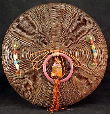Large Vintage Antique Chinese Wicker Sewing Basket w/ Beads & Coins & Glass Ring