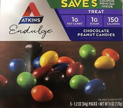 Atkins Endulge Chocolate Cacahuete Candies Red Wt 177ml (170g) - (Paquete de 3)