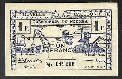 New Caledonia - Old 1 Franc Note - 1942 - P55b - VF/XF