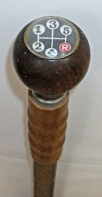5 SPEED GEAR SHIFT WOODEN MEN'S WALKING CANE 1960s