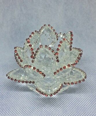 Feng Shui Handmade Glass Lotus Flower with Red Crystals Collectible