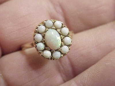#467 Beautiful Vintage Genuine 11 Opals Cluster 14 K Gold Ring Estate Jewelry
