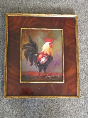 LF44757E: Burl Walnut Frame Rooster Oil Painting on Board - NEW