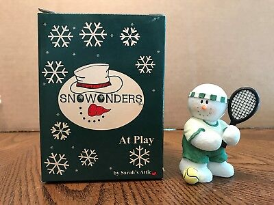 "Sarah's Attic Snowonders ""Victory"" Snowman Playing Tennis"