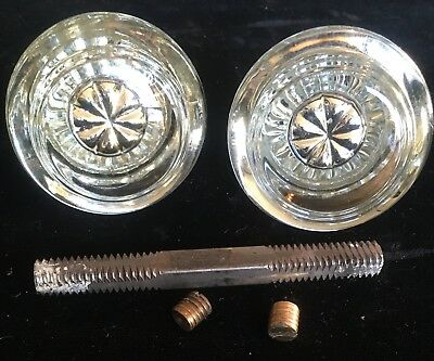 "(2) Matching ""No Chips"" Antique Crystal Glass Door Knobs W Rod & Set Screws"