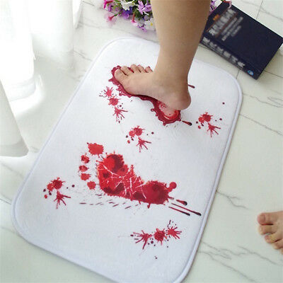 Bathmat Scare Your Friends Bloody Footprint Bath Bathroom Mat Non-slip Rug Eager