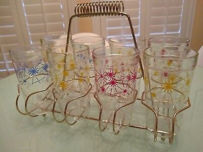 Vintage MID CENTURY Set of 8 Starburst Drinking Glasses with Carrier 50's 60's