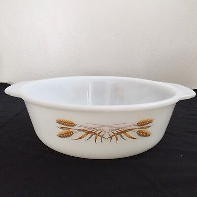 Vintage Fireking 1.5 qt Casserole Dish Wheat Old Emboss No Chips or Clack No Lid