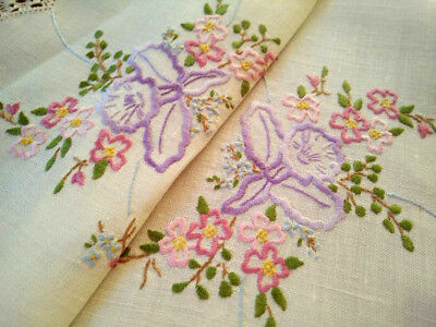 Gorgeous Orchids & Briar Roses ~ Vintage Hand embroidered Centrepiece