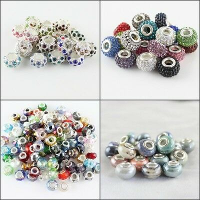 20X Random Mixed Multicolor Rondelle Big Hole Charm Beads for European Bracelet