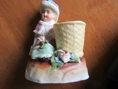 Vintage Bisque Antique Figurine Vase,18Th Century Dressed Lady