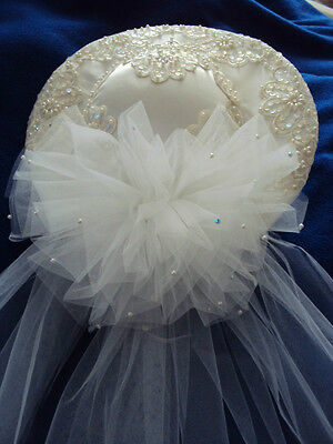 Exquisitely Beautiful Lace And Pearls  Poly-Satin White Wedding Hat Never Used