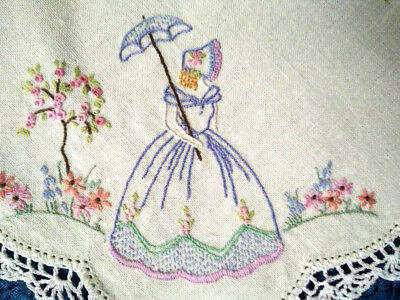 Exquisite Crinoline Lady & 3D Standard Roses Vintage Hand embroidered Tablecloth