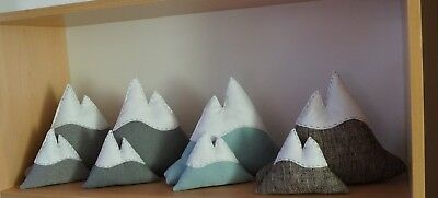 Handmade Mountain, adventure nursery decor, plushie grey turquoise duck egg blue