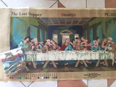 "Vintage Penelope  Anchor Wool Tapestry 'The Last Supper""  36""x18.5"" pre-owned"
