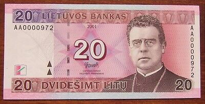 20 Litu 2001  Low serial Number UNC AA0000 974 Lithuania