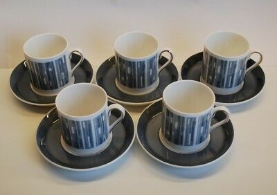 """Five (5) TUSCAN """"MANHATTAN (D2535) Fine Bone China CUPS & SAUCERS. Exc.Condition"""