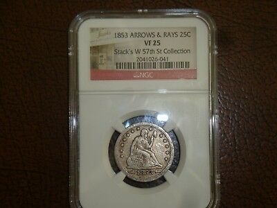 1853 Seated Liberty Quarter graded VF 25 by NGC