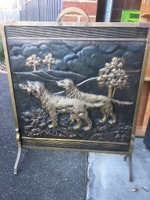 Genuine Vintage Antique Brass Fire Screen With Retriever Dogs In Landscape