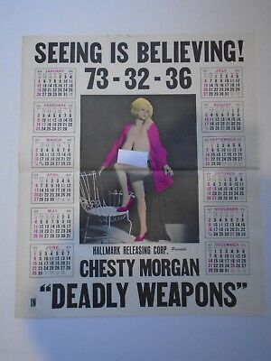 1975 Chesty Morgan Deadly Weapons Movie Promo Calendar Burlesque Stripper Risque