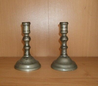Antique Pewter Candlesticks