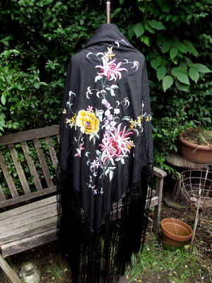 Antique Vintage 1920's Piano Shawl Fringed Silk Hand Embroidered Flowers