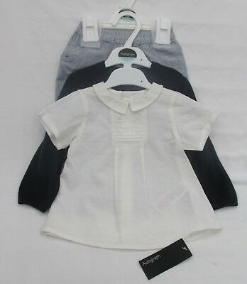 Baby Boy's Marks And Spencer Blue And White 3 Part Set Age 9 - 12 Months