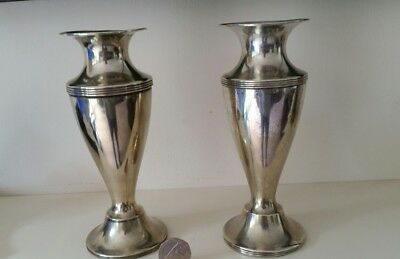 Vintage Matching Pair of Vase Silver Plate Unusual Urn Shape EPNS 15cm Tall