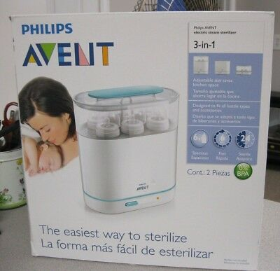 NEW Philips AVENT 3-in-1 Electric 6 Bottle 6 Minute Steam Sterilizer NEW IN BOX