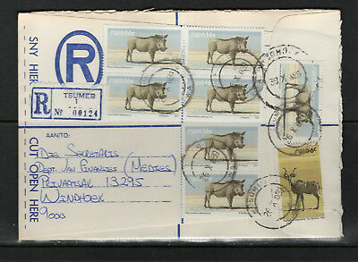 South West Africa Cover Postmark Tsumeb 26.10.1989 R-Cover Warzenschwein (x7)