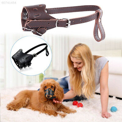 00C8 Black Brown Leather Breathable Dog Mouth Mask Dog Muzzle Dog Accessories