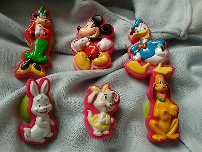 set of 6 Disney characters suction cups, Mickey Mouse Donald Duck Pluto Thumper