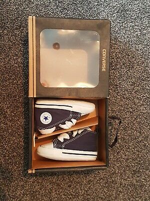** Worn Once ** Converse Crib First Star Hi Tops Infant Size 2 Navy Blue