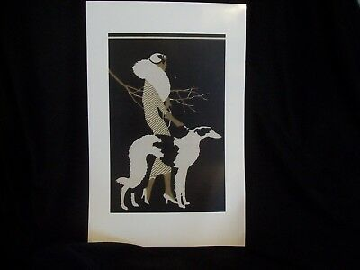 Deco Lady with Borzoi Poster