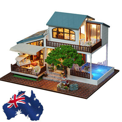 DIY Miniature Doll House Kit Dolls Toy House With Furniture LED Light Box Gift