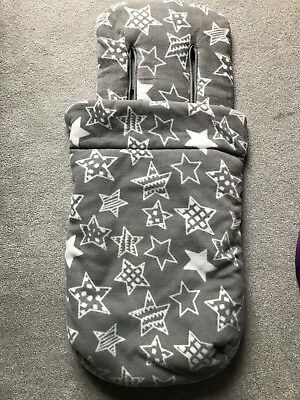 Mothercare Stars Footmuff Grey Buggy Snuggle Universal Fit Free P&P