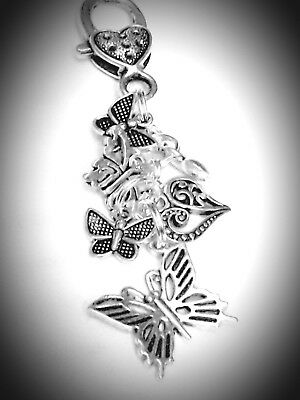 CLIP ON CHARM Tibetan Silver Butterflies and Heart Charms Bag Clip Special gift