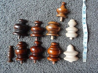 Antique / Vintage Wooden Clock Flastbacked Finials