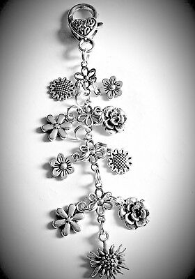 CLIP ON Bag Charms Tibetan Silver FLOWERS lovely girlie Gift Special