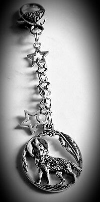 CLIP ON BAG CHARM Howling Wolf Stars Tibetan Silver Beautiful special gift