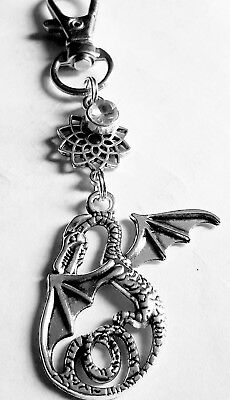 CLIP ON BAG CHARM Lotus and Dragon Tibetan Silver Beautiful special gift