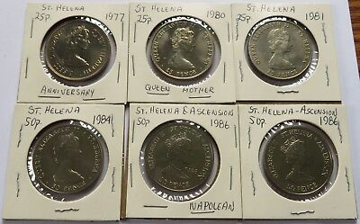 1977/80/81/84/86 St. Helena 25P + 50P , UNC to BU coins, Ascension UK  (231003)