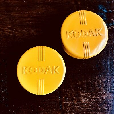 Two Vintage Kodak Lens Filter Cases - Yellow/Black Plastic Screw-off Lid .