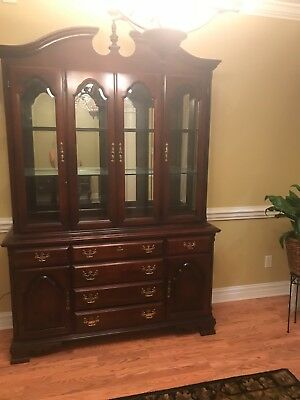 Sumter Cherry Lighted China Cabinet Chippendale Style