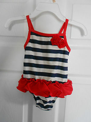 Baby Girls Carters Size 9 Months Swimsuit Bathing Suit Red White Blue July 4