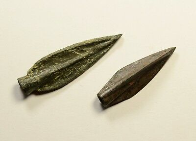 RARE TYPE - Ancient Greek Scythian Arrow Head Bronze 5th c BC - LOT OF 2