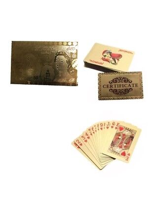 New 24K Gold Plated Playing Cards Full Poker Deck 99.9% Pure Perfect Xmas